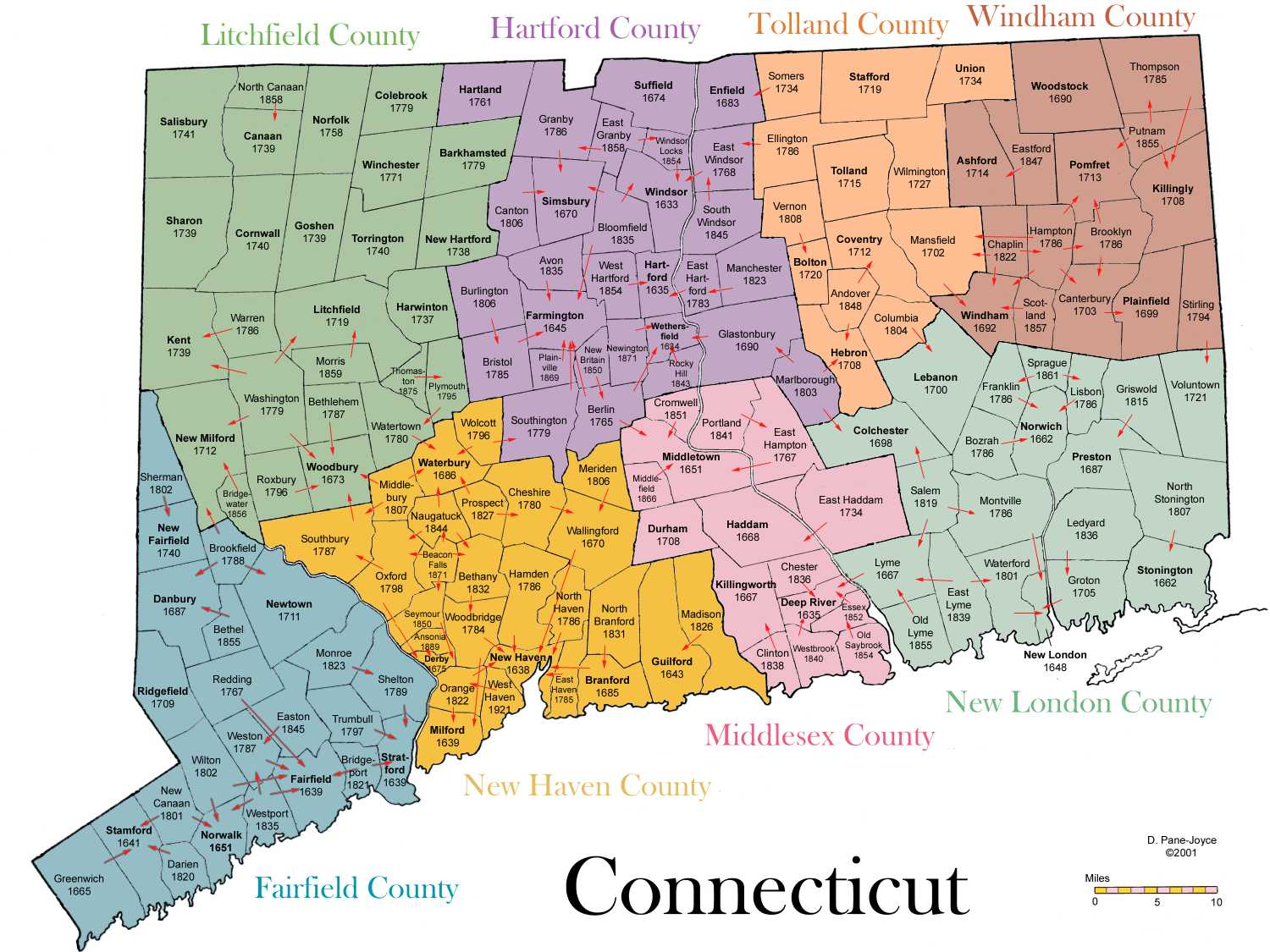 Connecticut Town Map Genealogy of Connecticut Towns